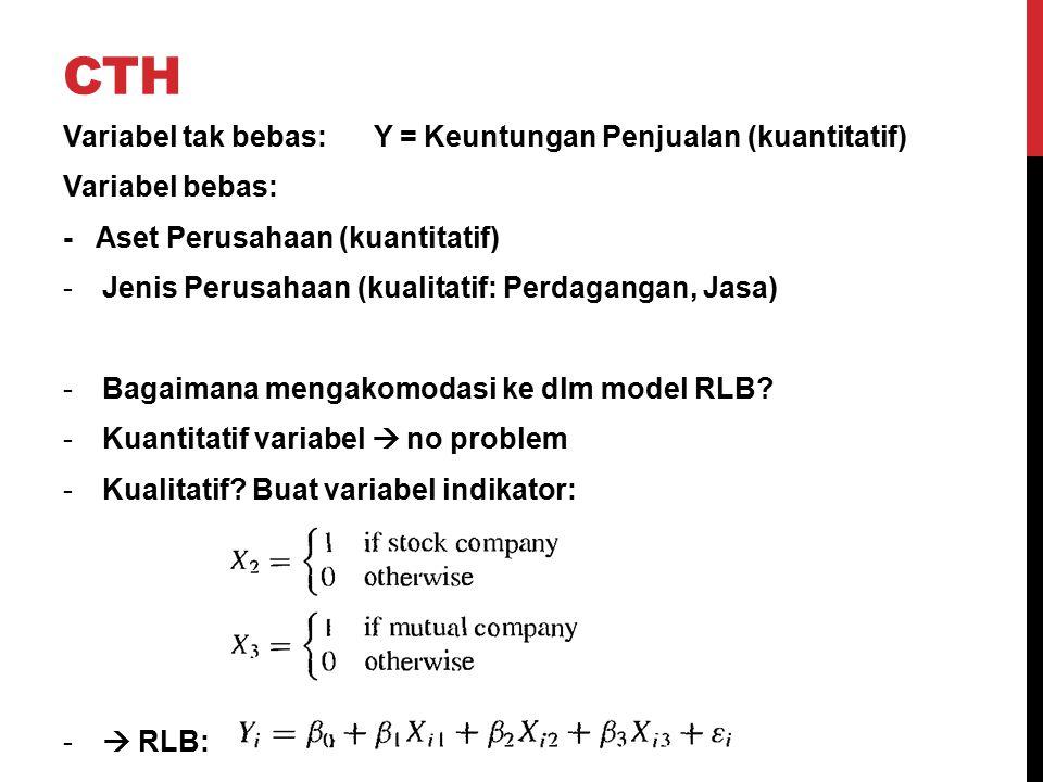 cth Variabel tak bebas: Y = Keuntungan Penjualan (kuantitatif)