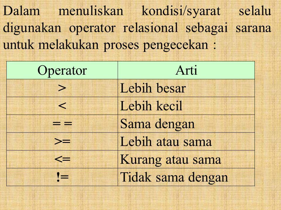 Dalam menuliskan kondisi/syarat selalu digunakan operator relasional sebagai sarana untuk melakukan proses pengecekan :