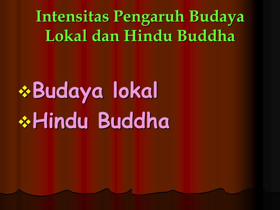 Intensitas Pengaruh Budaya Lokal dan Hindu Buddha