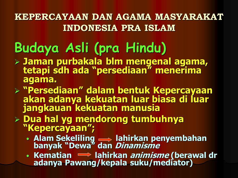 KEPERCAYAAN DAN AGAMA MASYARAKAT INDONESIA PRA ISLAM