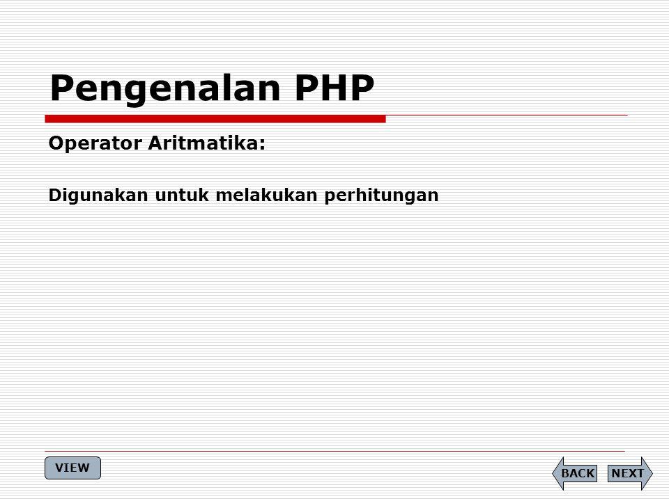 Pengenalan PHP Operator Aritmatika: