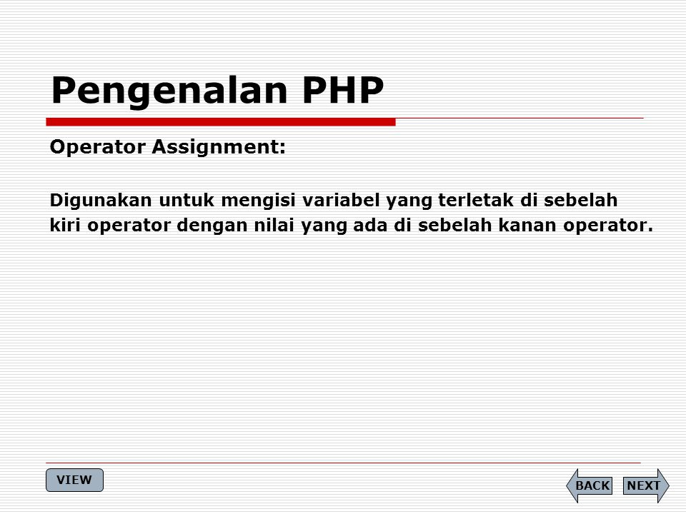 Pengenalan PHP Operator Assignment: