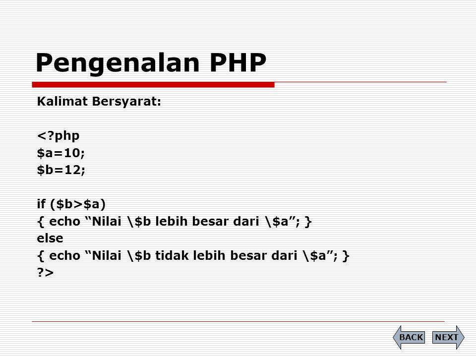 Pengenalan PHP Kalimat Bersyarat: < php $a=10; $b=12; if ($b>$a)