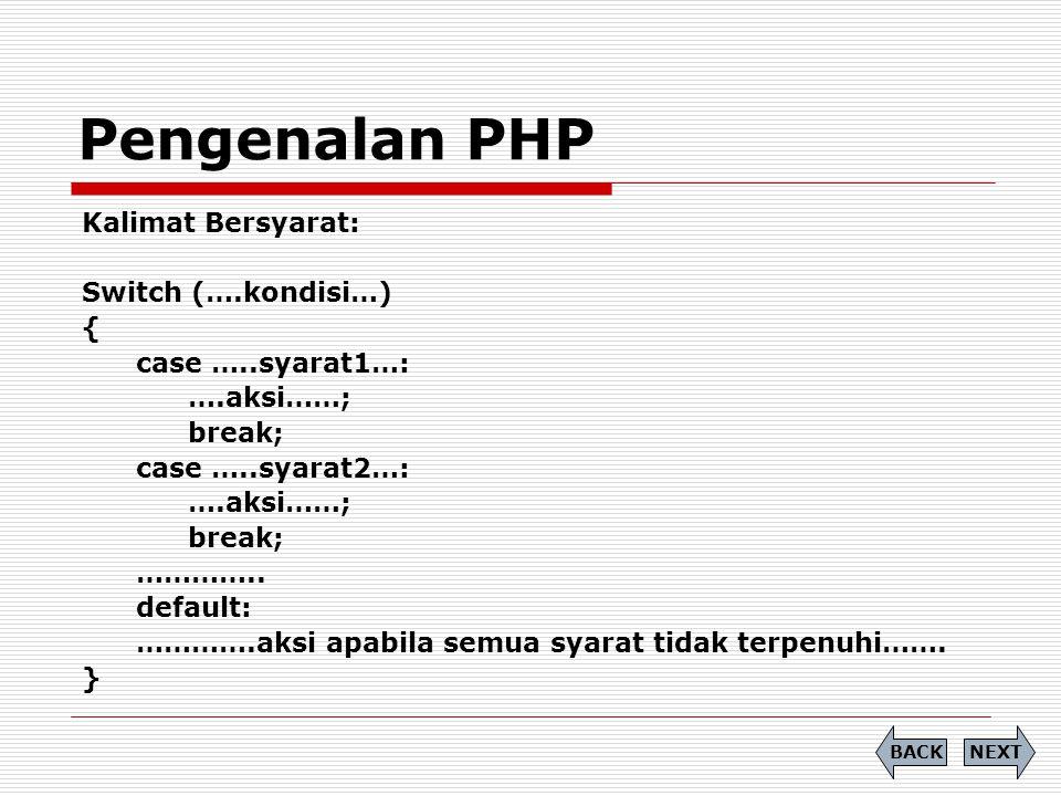 Pengenalan PHP Kalimat Bersyarat: Switch (….kondisi…) {