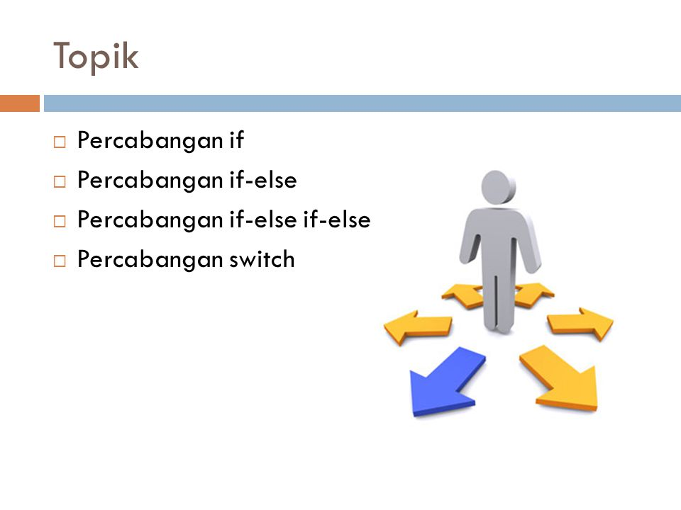 Topik Percabangan if Percabangan if-else Percabangan if-else if-else