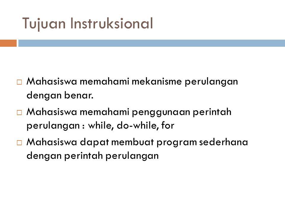 Tujuan Instruksional Mahasiswa memahami mekanisme perulangan dengan benar.