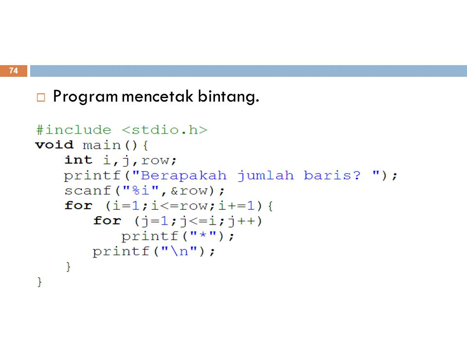 Program mencetak bintang.