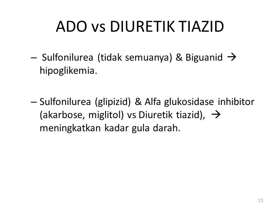 - ADO vs DIURETIK TIAZID. Sulfonilurea (tidak semuanya) & Biguanid  hipoglikemia.