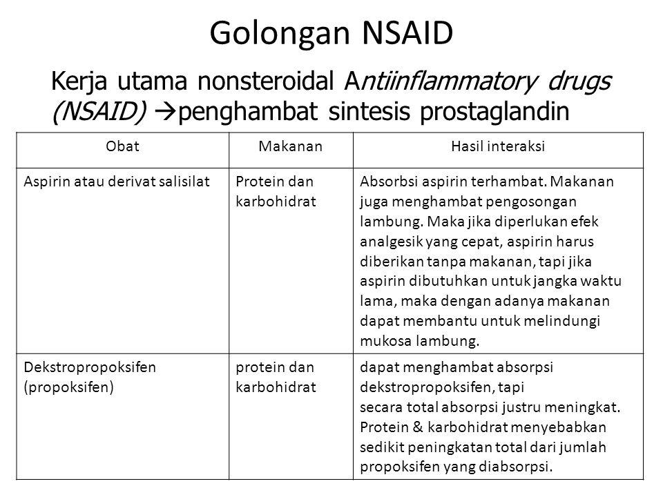 - Golongan NSAID. Kerja utama nonsteroidal Antiinflammatory drugs (NSAID) penghambat sintesis prostaglandin.