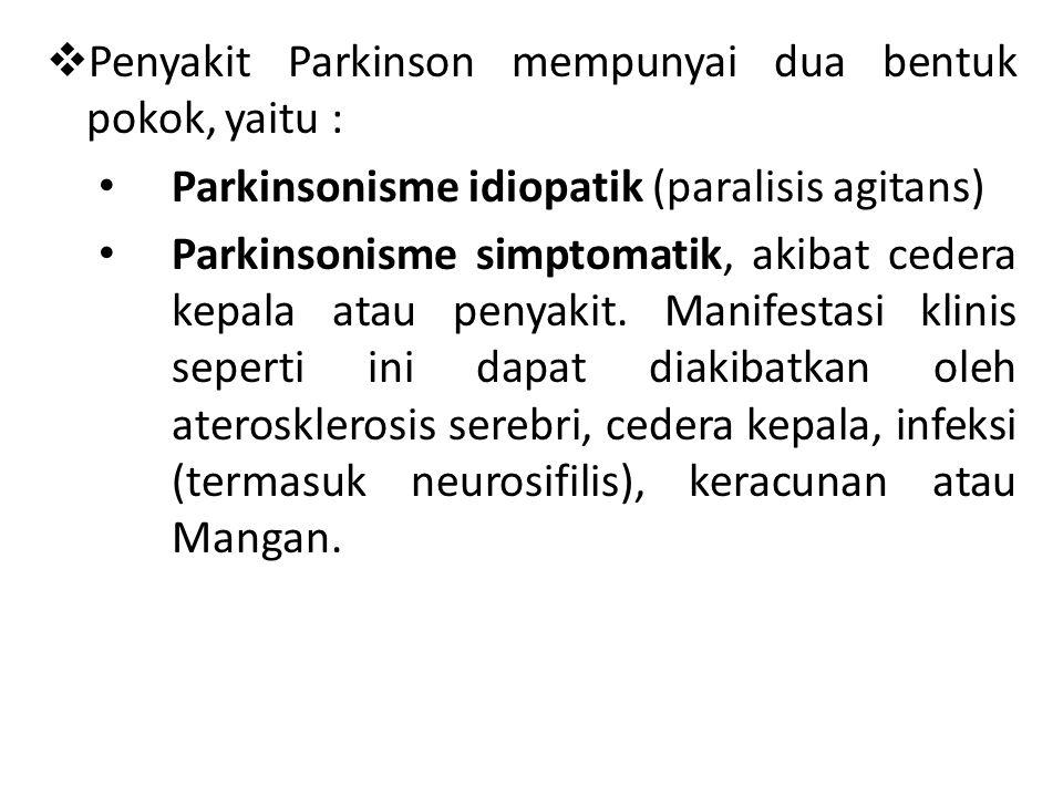 Penyakit Parkinson mempunyai dua bentuk pokok, yaitu :