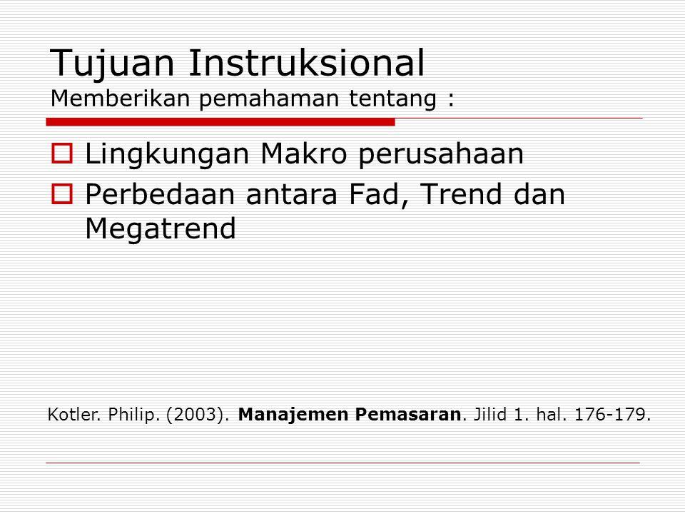 Tujuan Instruksional Memberikan pemahaman tentang :
