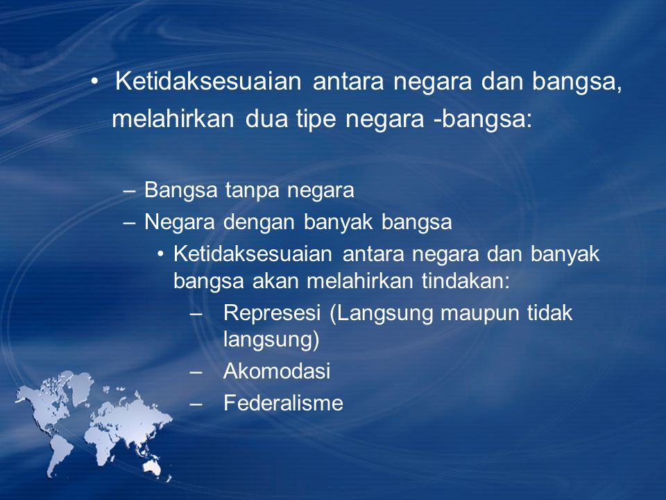 Ketidaksesuaian antara negara dan bangsa,