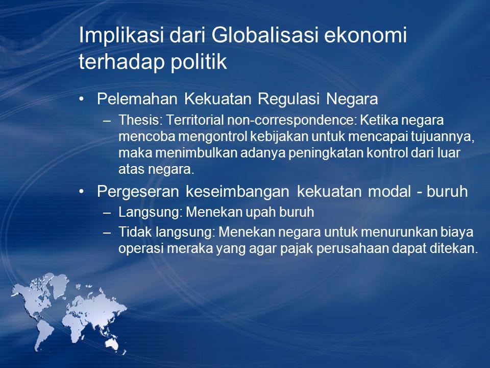 Implikasi dari Globalisasi ekonomi terhadap politik