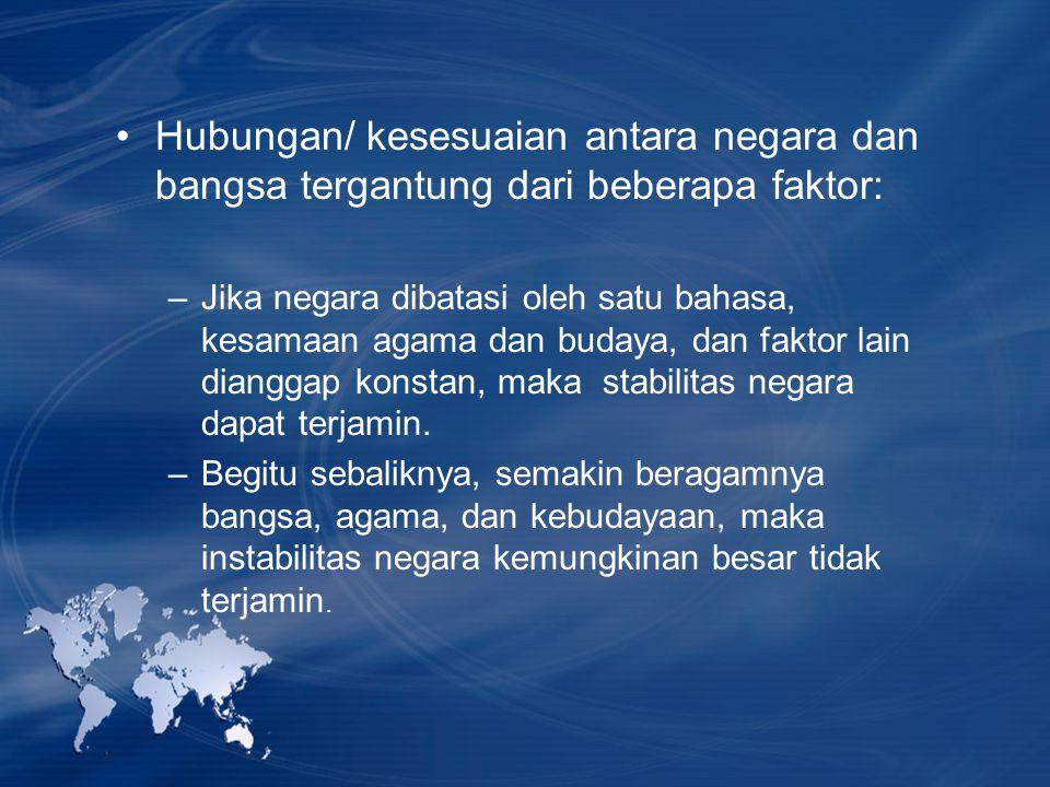 Hubungan/ kesesuaian antara negara dan bangsa tergantung dari beberapa faktor: