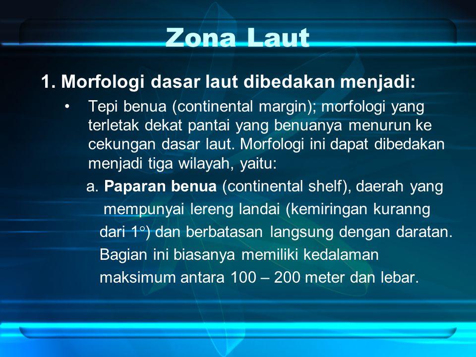 Zona Laut 1. Morfologi dasar laut dibedakan menjadi: