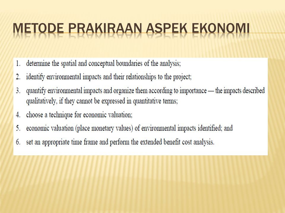 Metode Prakiraan aspek ekonomi