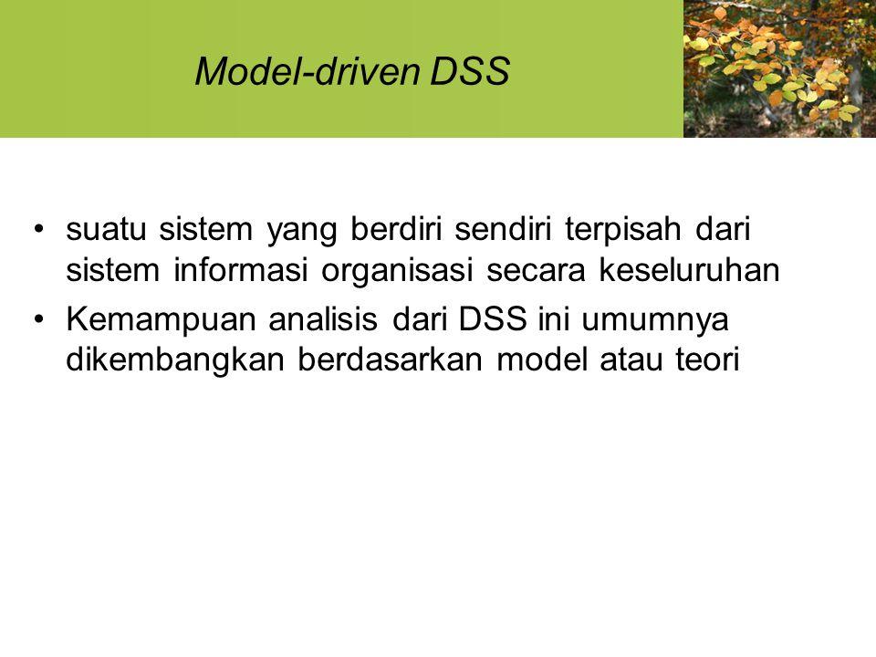 Model-driven DSS suatu sistem yang berdiri sendiri terpisah dari sistem informasi organisasi secara keseluruhan.