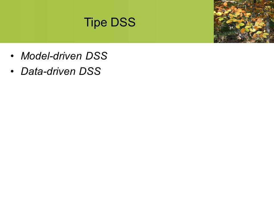 Tipe DSS Model-driven DSS Data-driven DSS