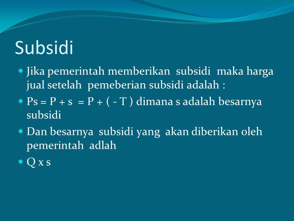 Subsidi Jika pemerintah memberikan subsidi maka harga jual setelah pemeberian subsidi adalah :