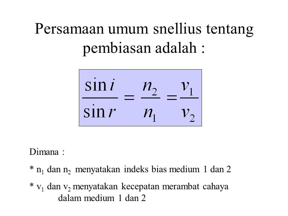 Persamaan umum snellius tentang pembiasan adalah :