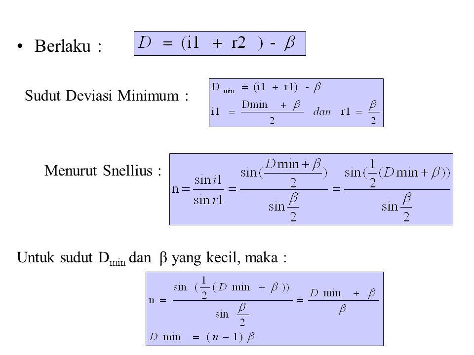 Berlaku : Sudut Deviasi Minimum : Menurut Snellius :
