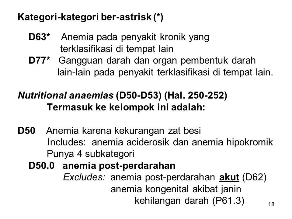 Kategori-kategori ber-astrisk (*)