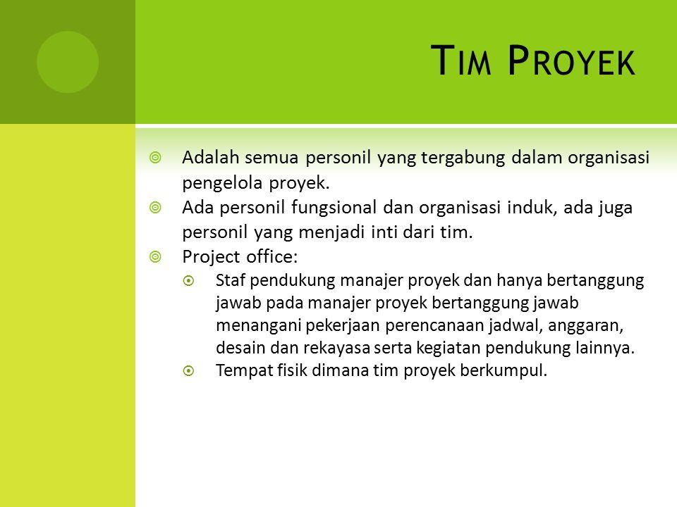 Tim Proyek Adalah semua personil yang tergabung dalam organisasi pengelola proyek.