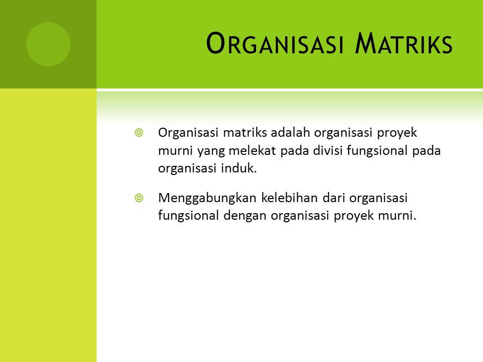 Organisasi Matriks Organisasi matriks adalah organisasi proyek murni yang melekat pada divisi fungsional pada organisasi induk.