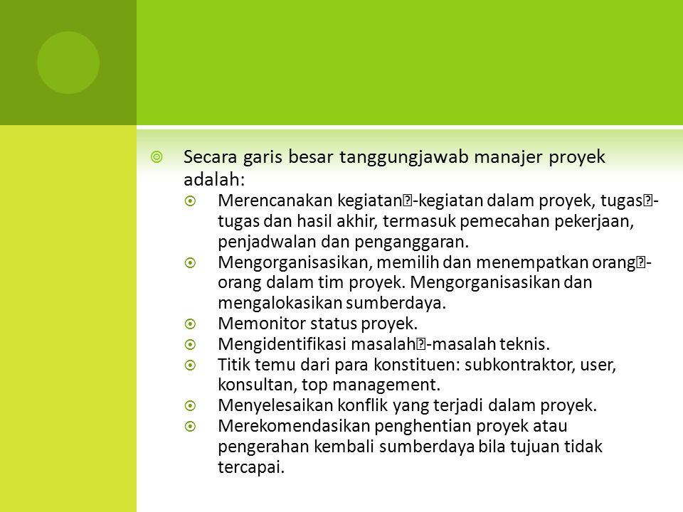 Secara garis besar tanggungjawab manajer proyek adalah:
