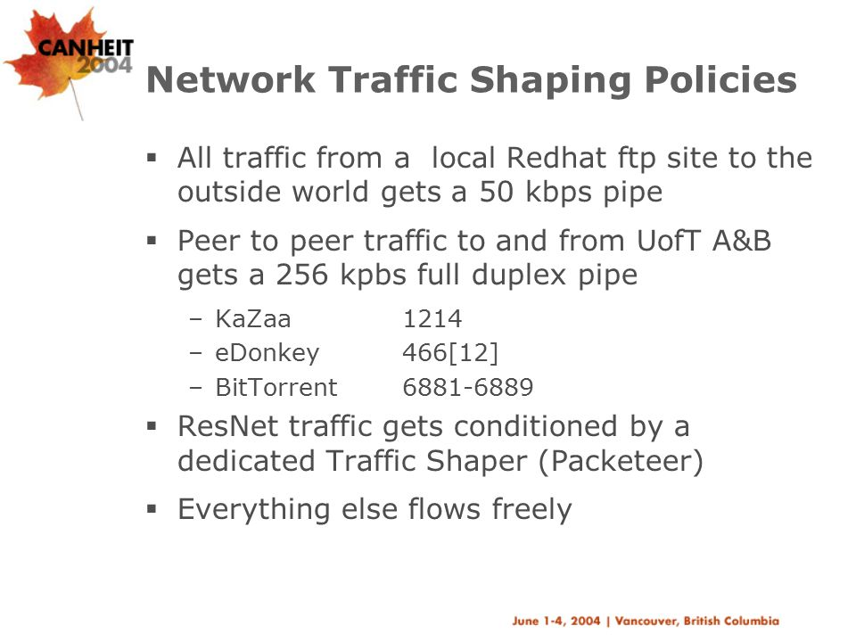 Network Traffic Shaping Policies