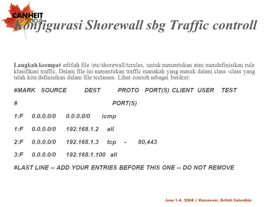 Konfigurasi Shorewall sbg Traffic controll
