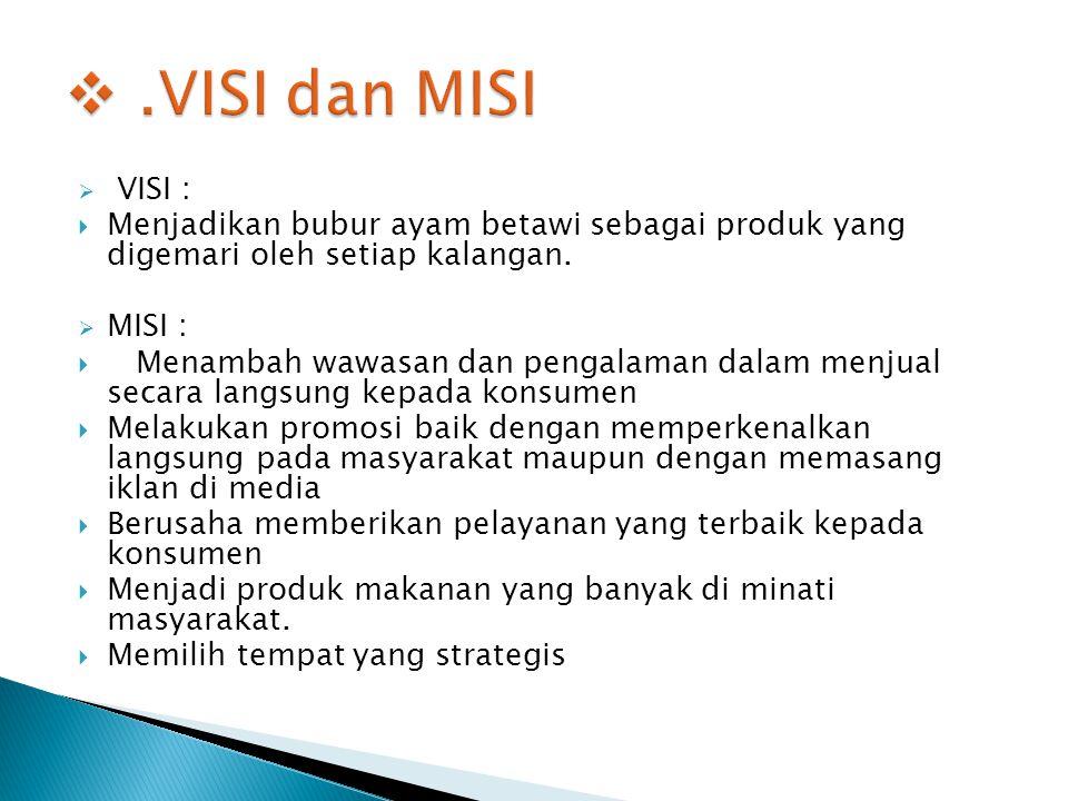 .VISI dan MISI VISI : Menjadikan bubur ayam betawi sebagai produk yang digemari oleh setiap kalangan.