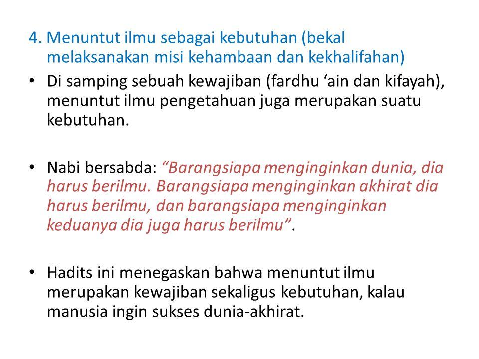4. Menuntut ilmu sebagai kebutuhan (bekal melaksanakan misi kehambaan dan kekhalifahan)