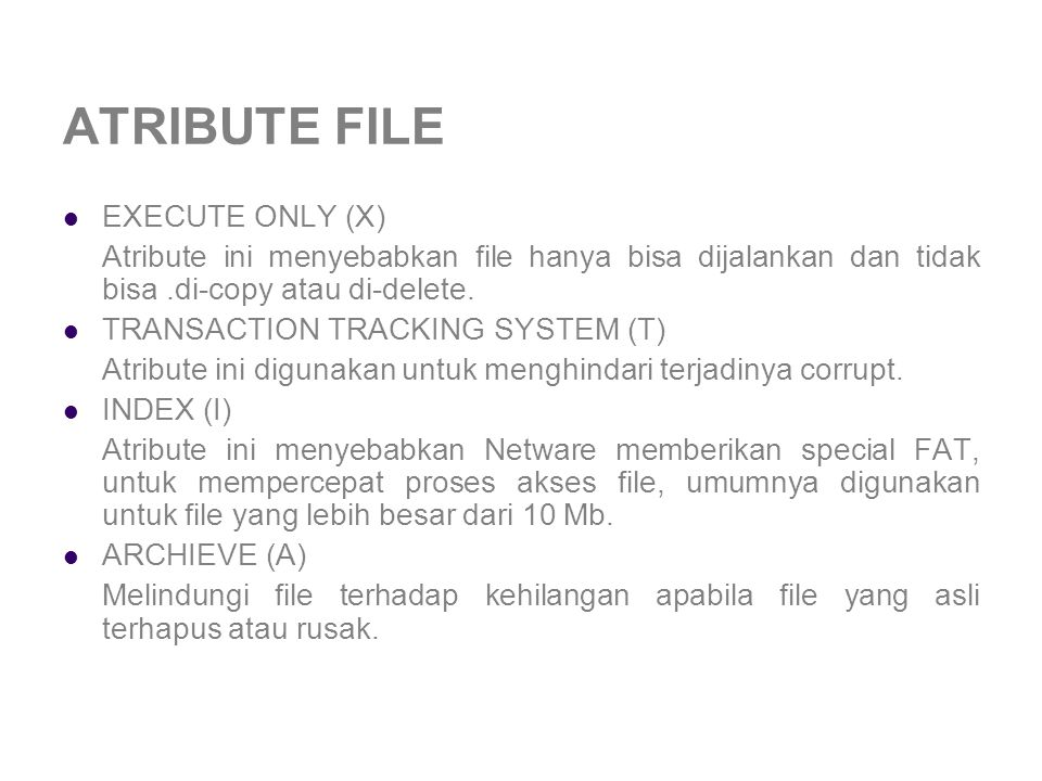 ATRIBUTE FILE EXECUTE ONLY (X)
