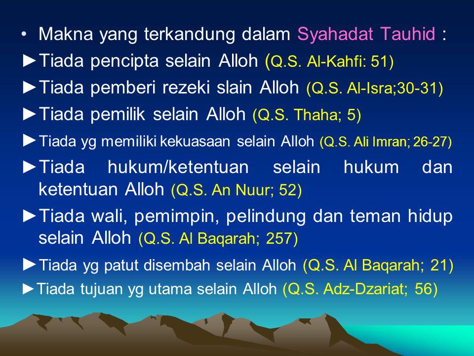 Makna yang terkandung dalam Syahadat Tauhid :