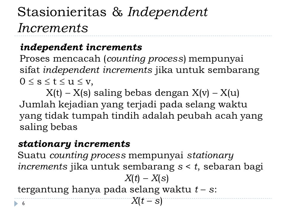 Stasionieritas & Independent Increments