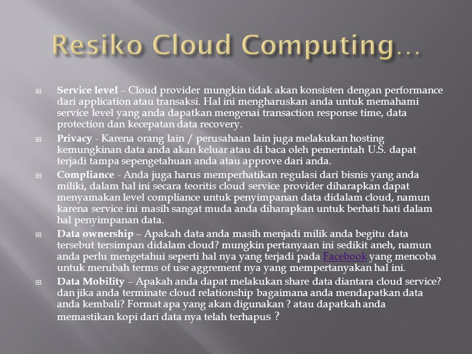 Resiko Cloud Computing…