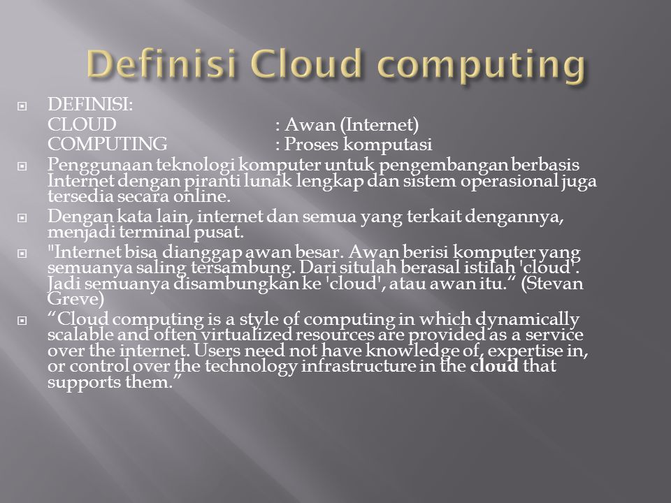 Definisi Cloud computing