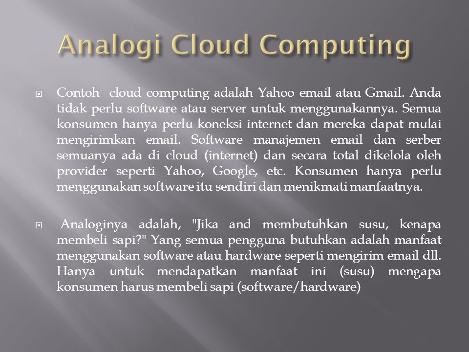 Analogi Cloud Computing