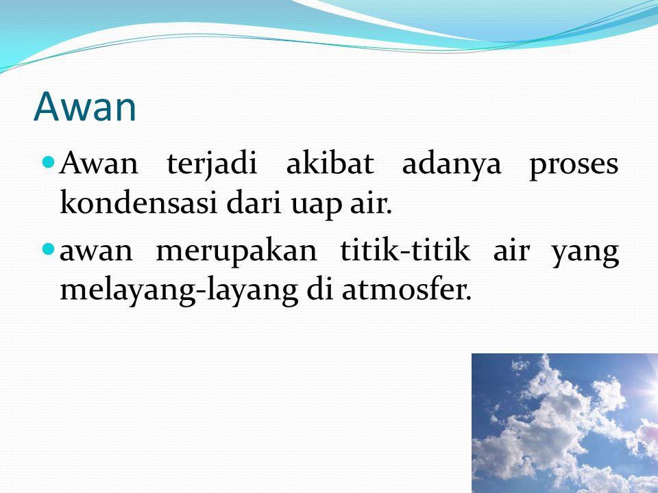 Awan Awan terjadi akibat adanya proses kondensasi dari uap air.