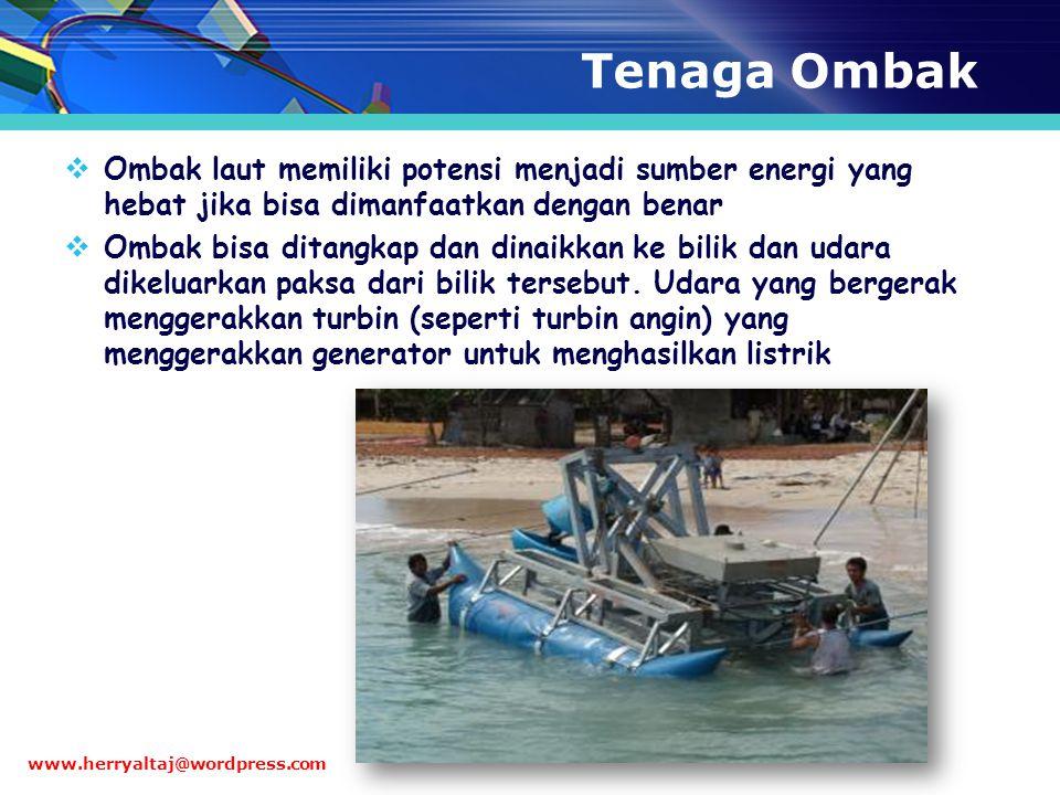 Tenaga Ombak Ombak laut memiliki potensi menjadi sumber energi yang hebat jika bisa dimanfaatkan dengan benar.