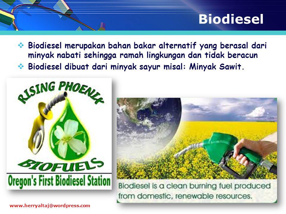 Biodiesel Biodiesel merupakan bahan bakar alternatif yang berasal dari minyak nabati sehingga ramah lingkungan dan tidak beracun.