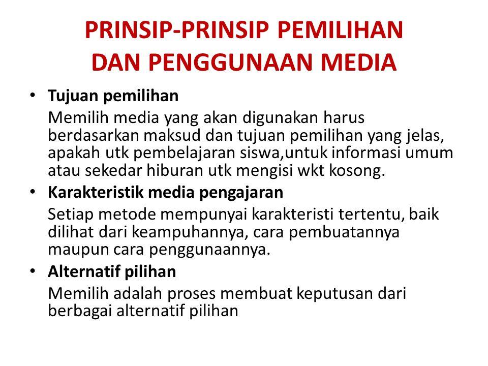PRINSIP-PRINSIP PEMILIHAN DAN PENGGUNAAN MEDIA