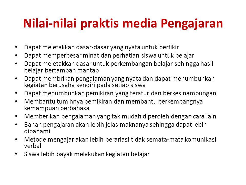 Nilai-nilai praktis media Pengajaran