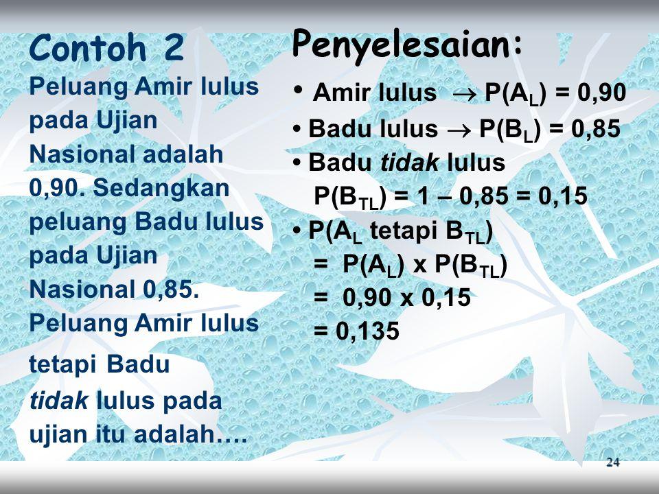 Penyelesaian: Contoh 2 • Amir lulus  P(AL) = 0,90