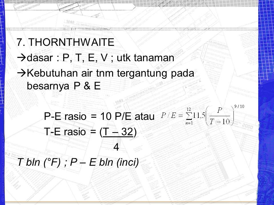 7. THORNTHWAITE dasar : P, T, E, V ; utk tanaman. Kebutuhan air tnm tergantung pada besarnya P & E.