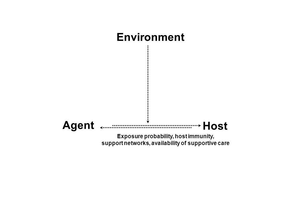 Environment Agent Host Exposure probability, host immunity,