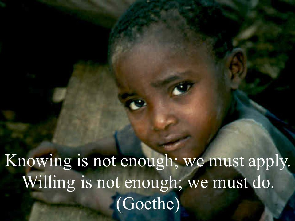 Knowing is not enough; we must apply. Willing is not enough; we must do. (Goethe)