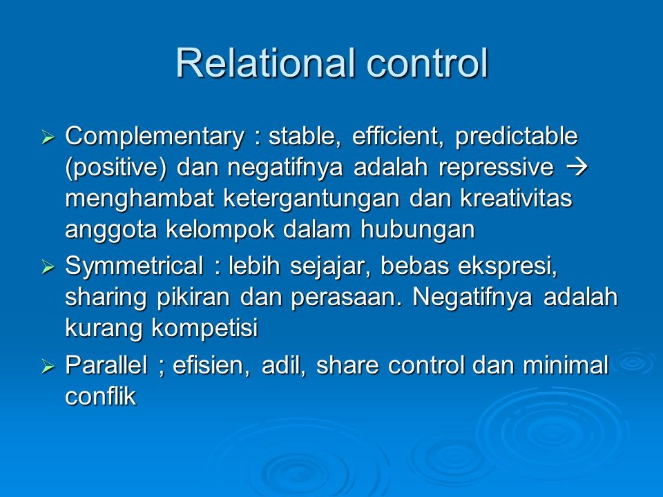 Relational control