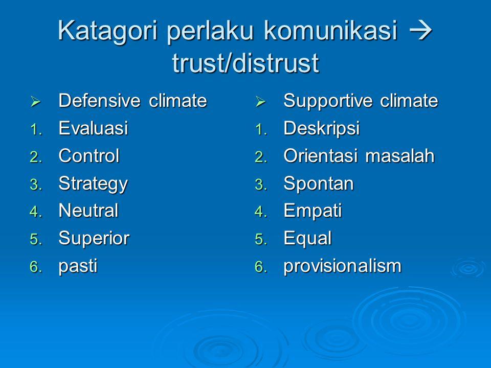 Katagori perlaku komunikasi  trust/distrust